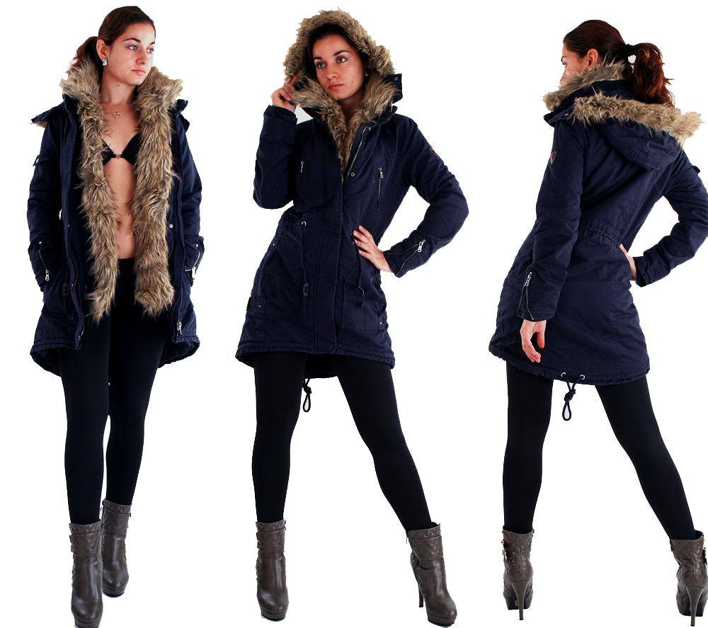 damen winter jacke parka outdoor mantel wintermantel kunst fell kapuze s xxl ebay. Black Bedroom Furniture Sets. Home Design Ideas