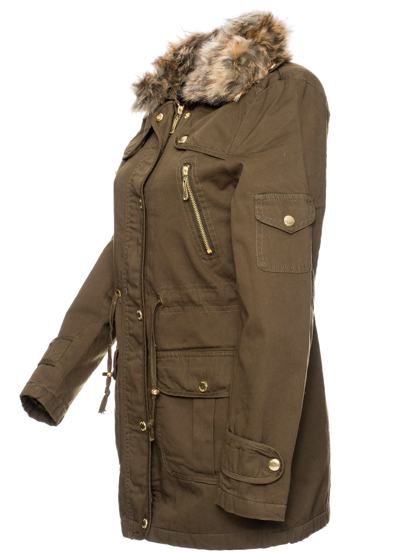 damen parka winter jacke mantel outdoor teddy futter wintermantel kunstpelz gina ebay. Black Bedroom Furniture Sets. Home Design Ideas