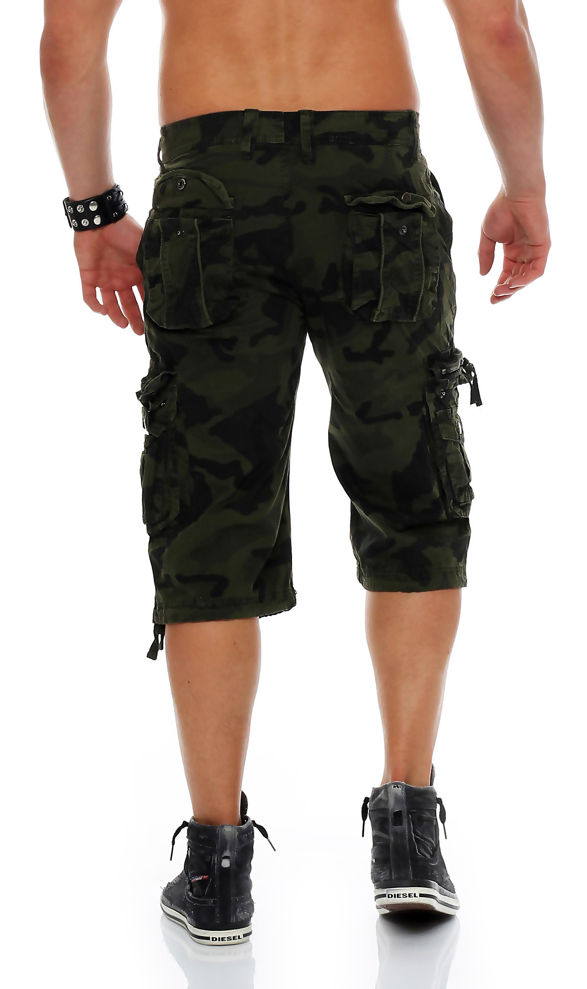 herren shorts kurze capri hose sommer bermuda casual army cargo baumwolle 3 4. Black Bedroom Furniture Sets. Home Design Ideas