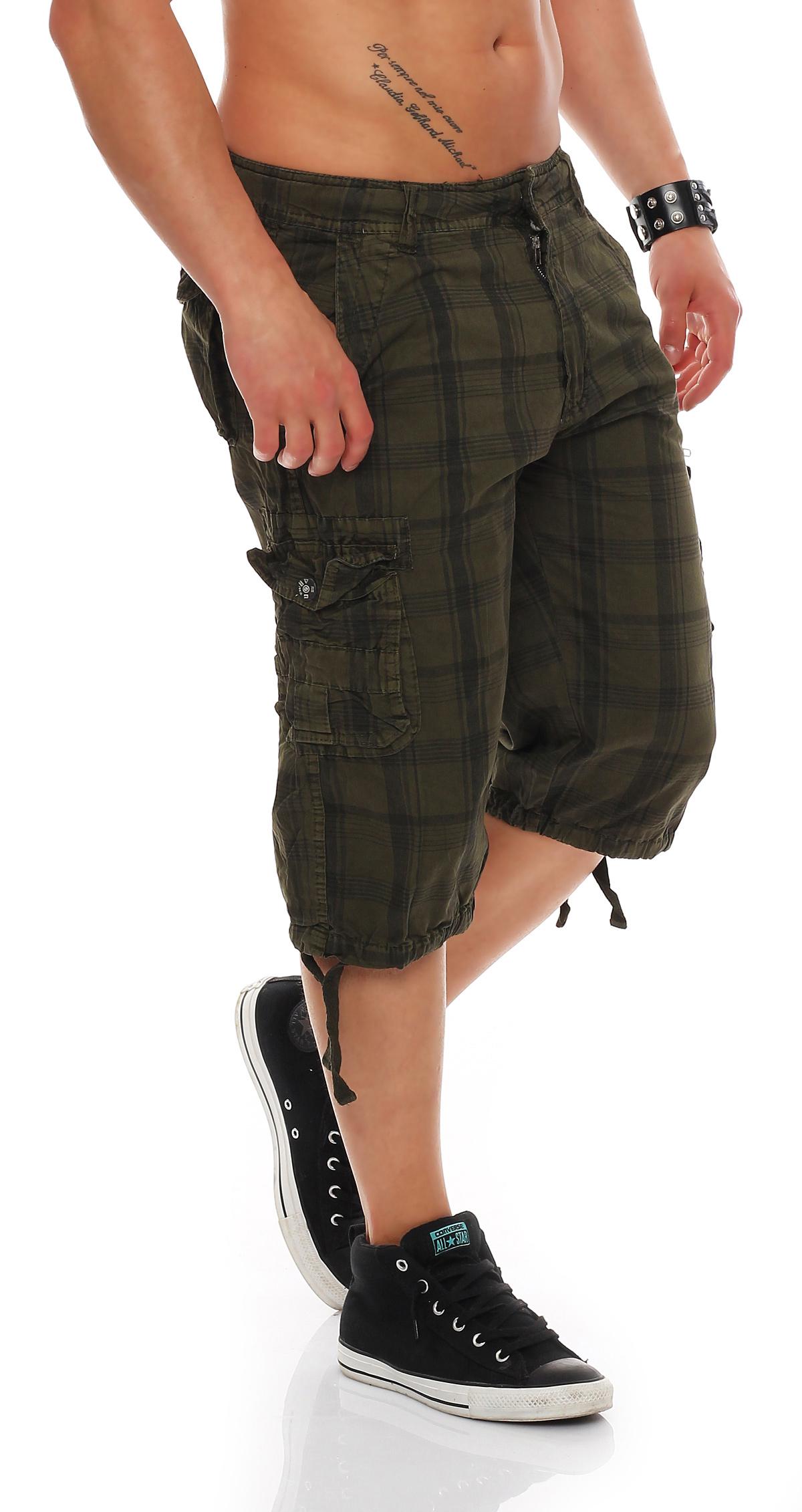 herren shorts kurze capri hose sommer 3 4 bermuda kariert cargo baumwolle l1202 ebay. Black Bedroom Furniture Sets. Home Design Ideas